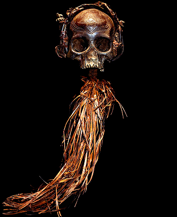 DAYAK HAND CARVED REAL HUMAN SKULL