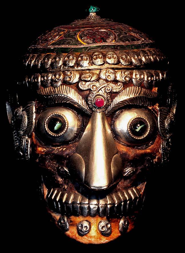 Tibetan Decorated Skull Human Skull Decorated in Semi