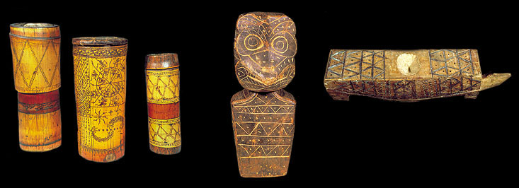 """DRUM PAIR WITH FLYING SQUIRREL TAILS AND A """"TAUTAU"""" TRIBAL DEITY"""